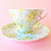 Pretty Shelley Primrose Chintz Pink English Porcelain Cup Saucer Yellow Flowers