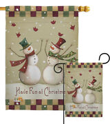 Have Fun At Christmas Snowman Red Bird Reef Scarf Wind Garden House Yard Flag
