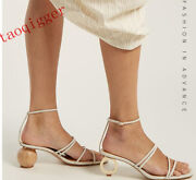 Asymmetric Ball Ring High-heeled Sandals Sheep Leather Womens Fashion Show Shoes