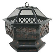 Hex Fire Pit Wood Coal Outdoor Fireplace Cooking Grate Patio Bbq Grill