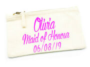 Natural Custom Wedding Canvas Makeup Bag Cosmetic Any Name Date Title 20x11cms