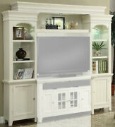 Parker House - Tidewater Vintage White Pier Cabinets Set Of 2 And Bridge Backpa...