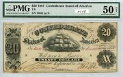 20 1861 Csa T-9 648 Pmg Au50 Net Stains. Very Nice Note. Check Out The Pho