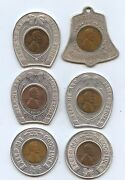 Good Luck Tokens Six Diff 7623 All With Encased Pennies From The 1940s.