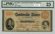 10 1861 Csa T-24 646 Pmg Vf25 Minor Stains. Very Scarce Note. Check Out The