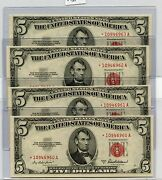 8 Consec. 1953a Star 5 Us Notes. 737 Nice Crisp New. Check Out The Photos.