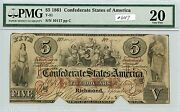 5 1861 Csa T-31 647 Pmg Vf20 Cutout Cancelled. Very Scarce Note. Check Out T