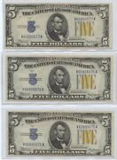 1934a Three Consecutive 5 North African Silver Certs. 1901 Nice Notes.