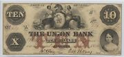 Obsolete Currency 10 1854 Union Bank. Augusta, Ga 1802 Decent Quality Note,