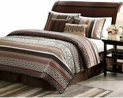 New Cozy Chic Brown Red Burgundy Grey Taupe Log Cabin Lodge Stripe Quilt Set