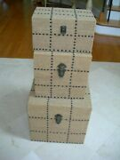 Trio Of Rustic Burlap Covered Storage Boxes Nail Head Studs And Decorative Hware