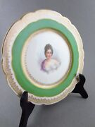 19th Century Sevres Hand Painted Madame Recamier Portrait Plate Signed O Brun
