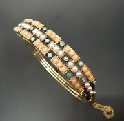 Antique Victorian 15ct Gold Coral Seed Pearl Turquoise And Diamond Bangle 21 Gms