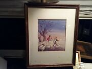 Rare Erika Von Kager Brownie Water Color Painting Xmas Card Art
