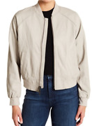 Vince Leather Bomber Jacket Womens- Color Dove Size Large