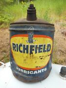 Old 1950's Richfield Lubricants Oil Service Station Can W Spout And Handle - 5 Gal