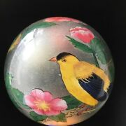 Handpainted American Goldfinches Glass Paperweight Birds Pink Flowers Vintage