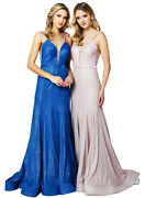 Red Carpet Special Occasion Formal Long Dresses Prom Fitted V-neck Evening Gowns
