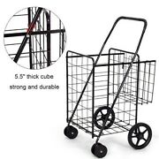 Folding Shopping Grocery Basket Large Metal Rolling Laundry Cart With Wheels