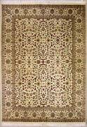 Rugstc 8x10 Senneh Pak Persian White Rug Hand-knottedfloral With Silk/wool