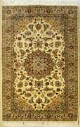 Rugstc 3x5 Senneh Pak Persian White Rug Hand-knottedfloral With Silk/wool