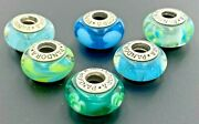 Pandora Sterling Silver 925 Blue Green Murano Glass Charms Beads Lot Of 6