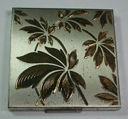 New W Defects Antique Vintage Elgin American Compact Gold Silver Floral Design
