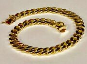18k Solid Yellow Gold Handmade Curb Link Menand039s Bracelet 7.5 Mm 8.5 40 Grams