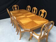 Designer Art Deco Style Maple And Burr Ash Dining Table Set Pro French Polished
