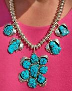 Gorgeous And Bold .925 Natural Sleeping Beauty Turquoise Museum Quality Necklace