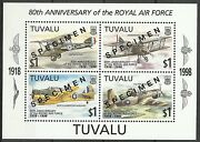 Tuvalu World War Avions Royal Air Force Aircrafts Flugzeuge 1998 Specimen Ovpt