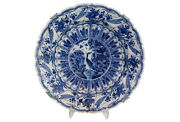 Antique Delft Chinoiserie Charger 18th-century Crane Insects Signed Maker's Mark
