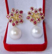 Natural 15 Mm White South Sea Pearl And Ruby Earrings 14k Y.gold Over 925 Silver