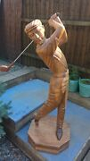 Vintage Golfing Statue In Solid Wood Beautiful Well Crafted Item Uniqueandnbsp