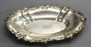Heavy Old Gorham Sterling Silver Oval Bowl A2225 W/ Raised Leafy Edge 17.5 Ozt