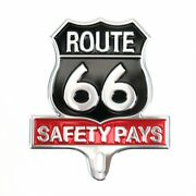 Retro Route 66 Aluminum License Plate Topper Safety Pays For Hot Rod