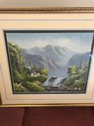 R.boren Oil Canvas Large Framed Painting Sailing Ship In A Storm