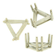 14k White Gold Triangle Wire Basket Setting Mounting 6 Prong 0.12ct - 6.00ct Usa