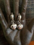 Vintage Rare Sterling Silver Puffy Hearts Picture Lockets Earrings