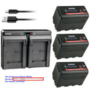Kastar F780 Battery Dual Charger For Sony Np-f770 Np-f750 Dcr-trv900 Hxr-mc2500