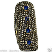 Vintage 5.47ct Rose Cut Diamond Sapphire Studded Silver Full Finger Ring Jewelry