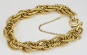 Estate 14k Yellow Gold Chain Link Rope Pattern Bracelet 40 Grams 7andrdquo Long