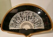Antique Hand Fan 19 Century From Lacehand Painted Beautiful Framed