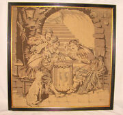 Antique French Framed Tapestry 19x19 Jesters Card Players Drum Dog Puffy Nice
