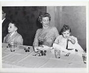 806p Vintage Photo Lovely Woman W Young Son Baby Girl Illinois Bell Telephone