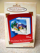 2002 Hallmark Ornament Disney The Great Ski Challenge Micky Mouse And Donald Duck