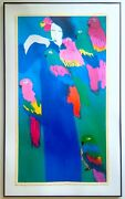 Walasse Ting Rare Vtg Can I Give You A Parrot 1983 Lrg Framed Fine Art Print