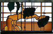 Leaded Glass, Stained Glass Panel 35x20 - Real Antique Glass