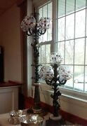 Vintage 2 Lamps With Czech Bohemian Crystal Glass Early 19 Th Century