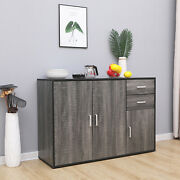 Grey Sideboard Storage Cupboard Display Cabinet Matt Sides With Drawers And Doors